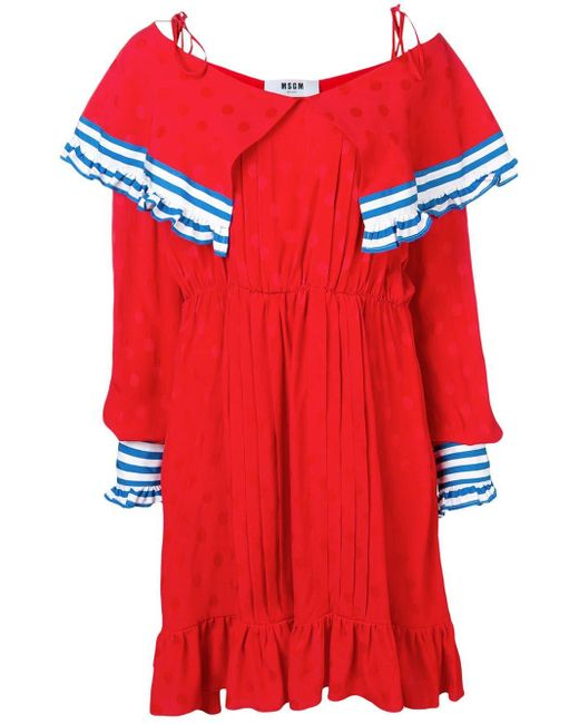 MSGM Red Contrast Panels Short Dress