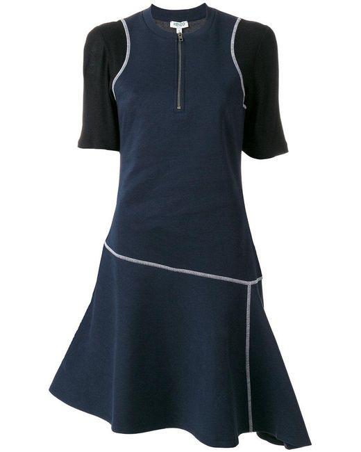 KENZO   Blue Exposed Seam Dress   Lyst