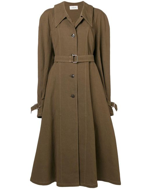 Lemaire - Green Belted Single Breasted Coat - Lyst