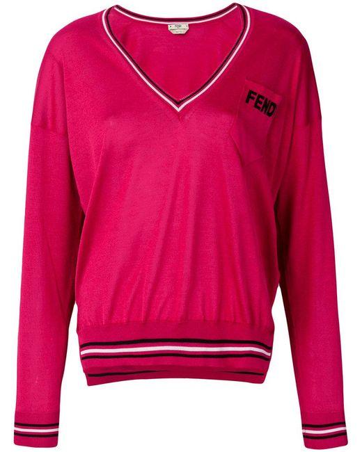 Fendi - Red V-neck Logo Patch Sweater - Lyst