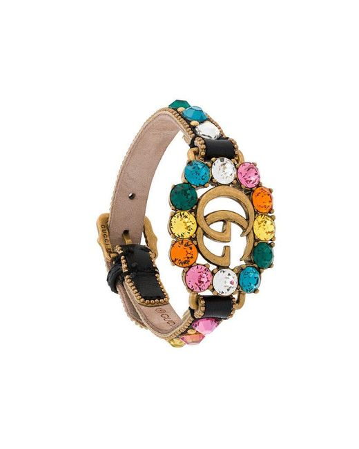 Gucci - Black Leather Bracelet With Double G - Lyst