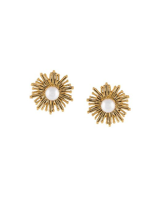 Oscar de la Renta - White Pearl Sun Earrings - Lyst