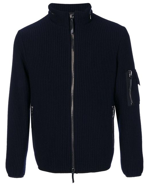 Giorgio Armani | Blue Ribbed Zipped Cardigan for Men | Lyst