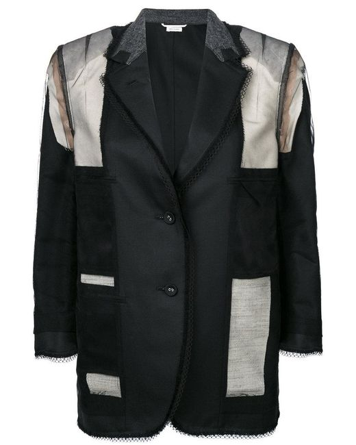 Thom Browne | Inside Out Single Breasted Sack Jacket With Fray & Lace Insert In Black Super 120's Wool Twill for Men | Lyst