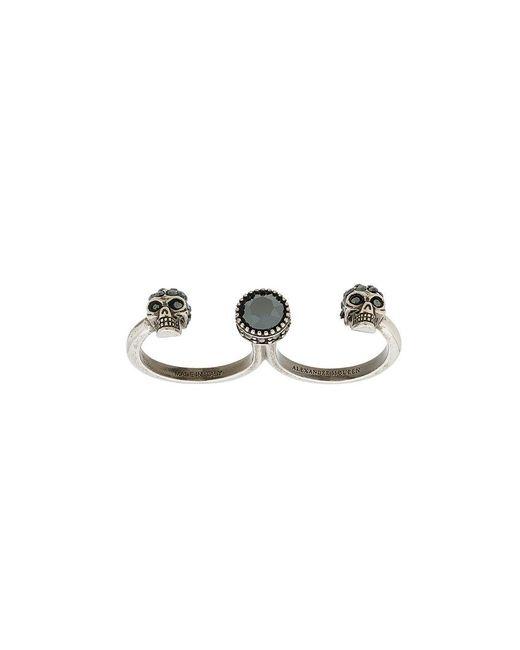 Alexander McQueen - Gray Skull Double Finger Ring - Lyst