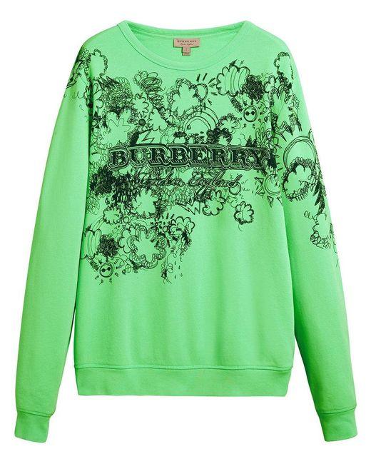 Burberry - Green Doodle Print Sweatshirt - Lyst