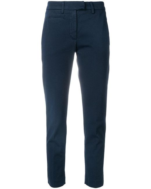 Dondup - Blue Cropped Skinny Trousers - Lyst