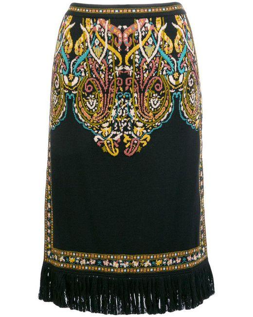 Etro - Black Patterned Knit Fringe Skirt - Lyst