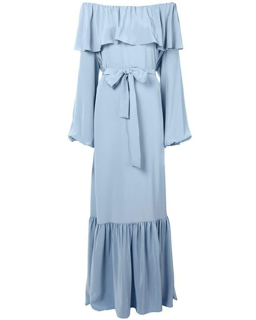 The Row - Blue Off-shoulder Ruffle Dress - Lyst