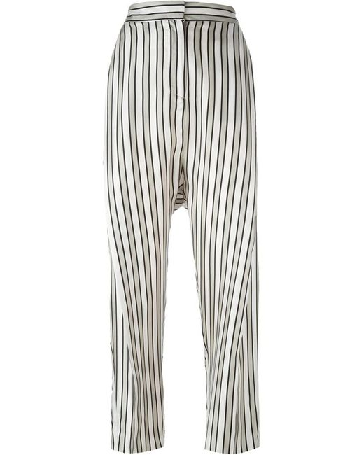 Alberto Biani - Black Striped Trousers - Lyst