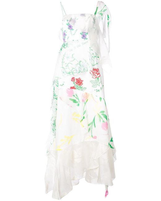 Rosie Assoulin - White Floral Print Layered Asymmetric Slip Dress - Lyst