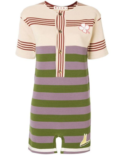 Marni - Green Colourblock Stripe Mini T-shirt Dress - Lyst