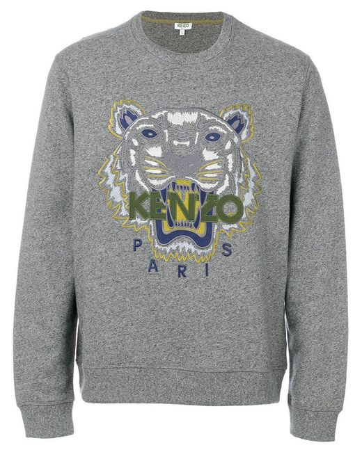 KENZO | Gray Tiger Embroidered Sweatshirt for Men | Lyst