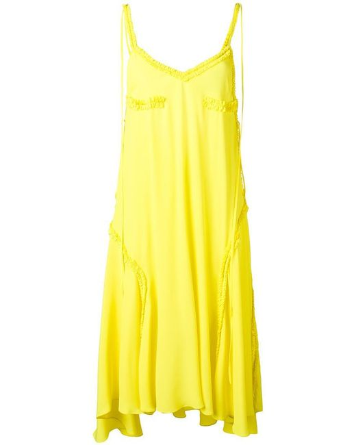 Cedric Charlier - Yellow Ruffled Detail Open Back Dress - Lyst