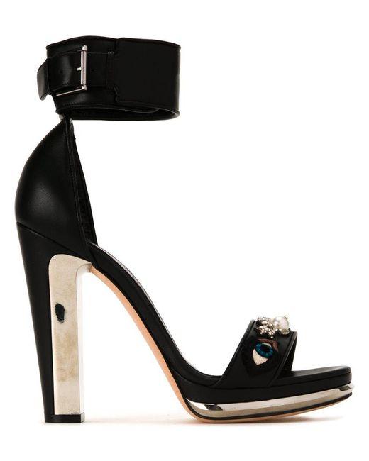 Alexander McQueen - Natural Buckled Lambskin Sandals - Lyst