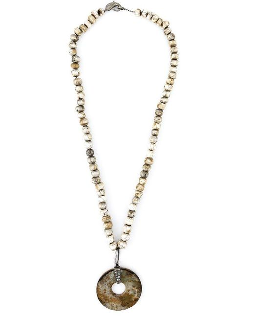 Loree Rodkin - White Diamond Stone Disc Lariat Necklace - Lyst