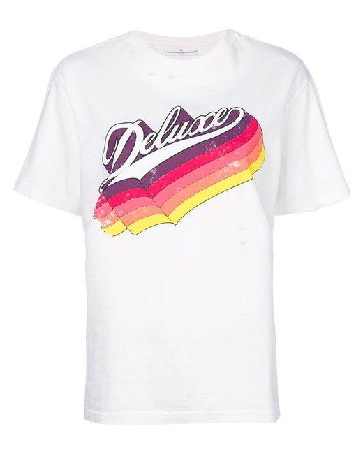 Lyst golden goose deluxe brand logo printed t shirt in white for T shirt brand logo
