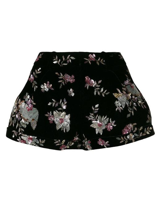 Saint Laurent - Black Floral Sequin Embellished Shorts - Lyst