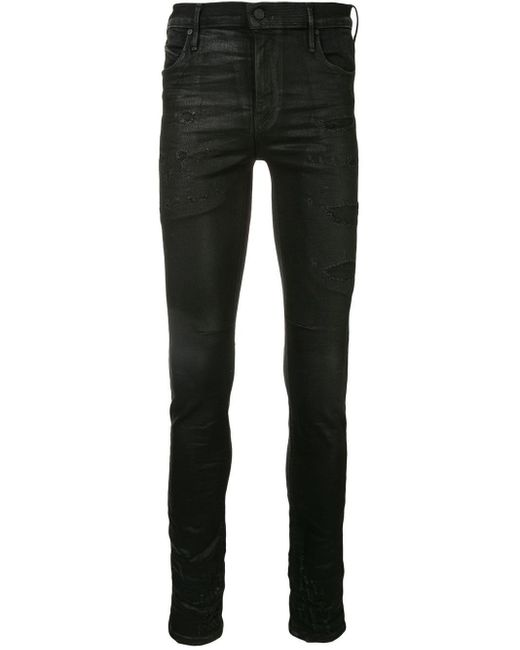 RTA Black Distressed Patch Skinny Jeans for men
