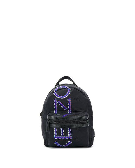 KENZO Black Logo Print Backpack for men