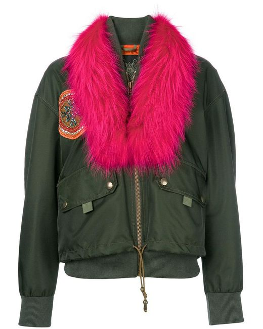 Mr & Mrs Italy - Green Detachable Collar Bomber Jacket - Lyst