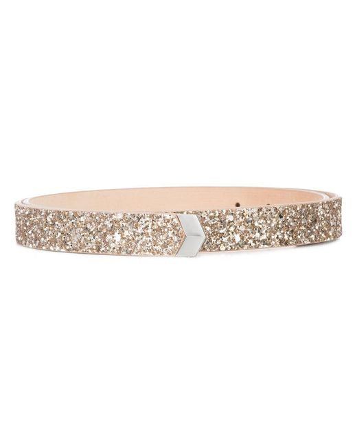Jimmy Choo - Pink Britt Glitter Belt - Lyst
