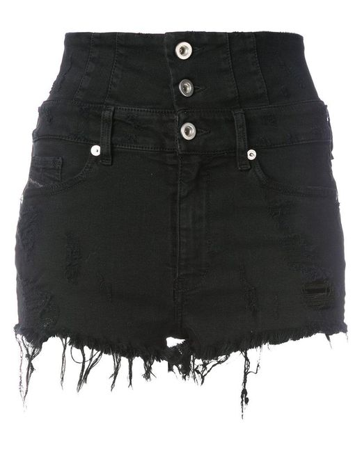 DIESEL - Black High Waisted Shorts - Lyst