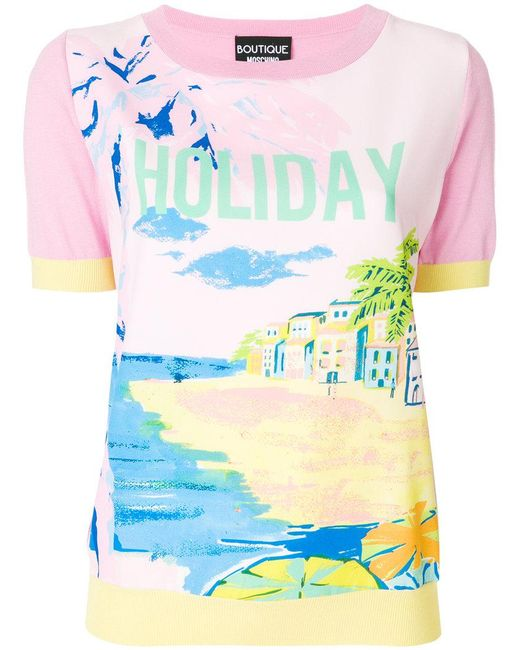 Boutique Moschino | Multicolor Holiday Print T-shirt | Lyst