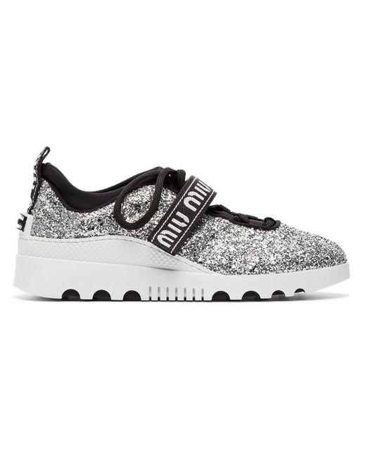 fbdb66b87018 Miu Miu Logo Strap Glitter Sneakers in Metallic - Save 53% - Lyst