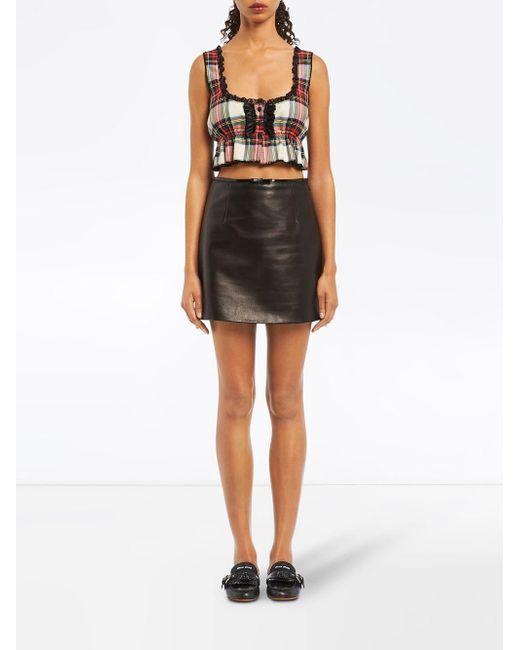 303a4896c54 ... Miu Miu - Black A-line Leather Skirt - Lyst ...