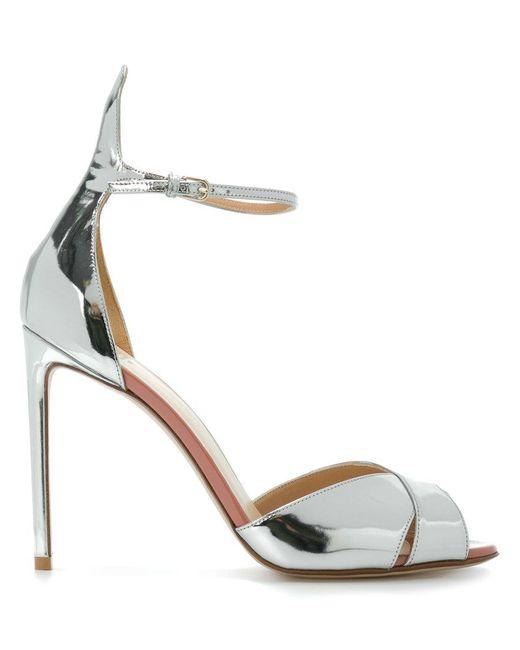 1bc6f80b89f Francesco Russo - Metallic Slingback Mirror Sandals - Lyst ...