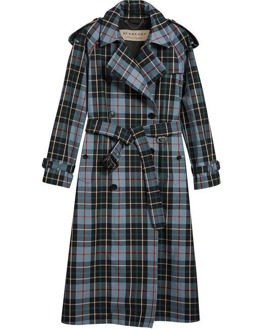 Burberry - Blue Tartan Trench Coat - Lyst