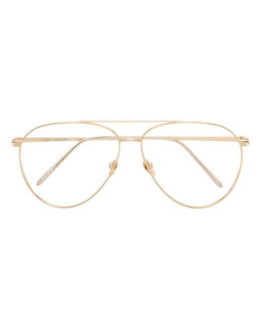 Linda Farrow Metallic Aviator Shaped Sunglasses