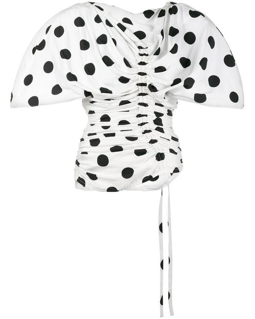 Jacquemus - White Le Vallauris Fronce Polka Dot Ruched Top - Lyst