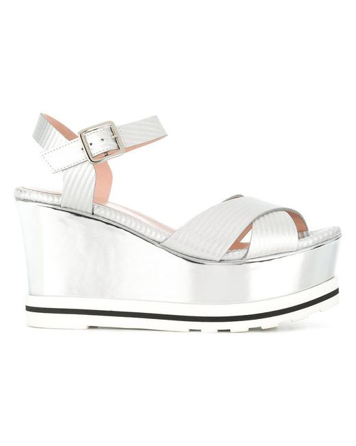 Pollini - Gray Wedged Sandals - Lyst