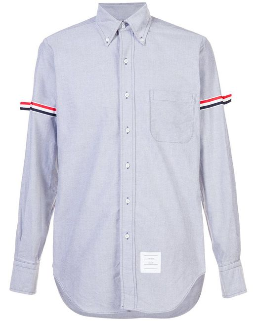 Thom browne long sleeve shirt with grosgrain armbands in for Thom browne shirt sale
