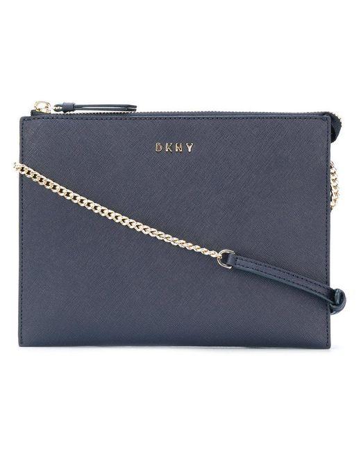 DKNY | Blue Flat Top Zip Crossbody Bag | Lyst