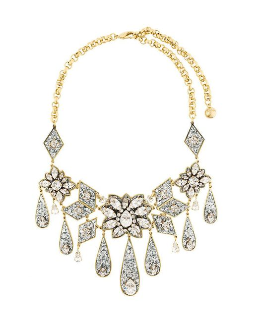 Shourouk | Metallic Teardrop Floral Necklace | Lyst