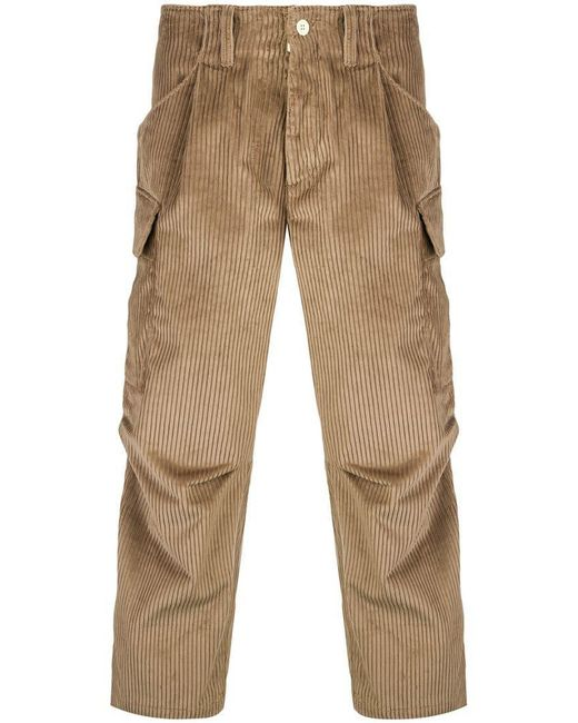 LC23 - Brown Corduroy Cargo Trousers for Men - Lyst