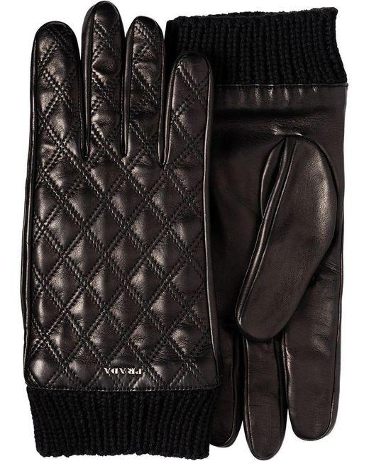 Prada - Black Handschuhe mit Rautenmuster for Men - Lyst