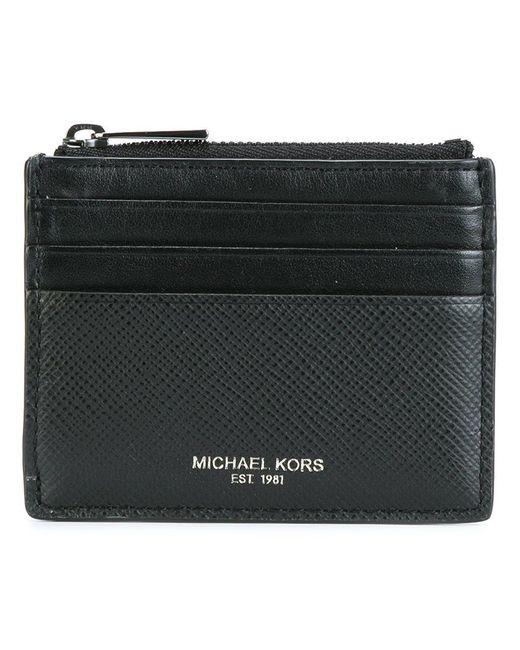 Michael Kors | Black Top Zipped Flat Cardholder for Men | Lyst