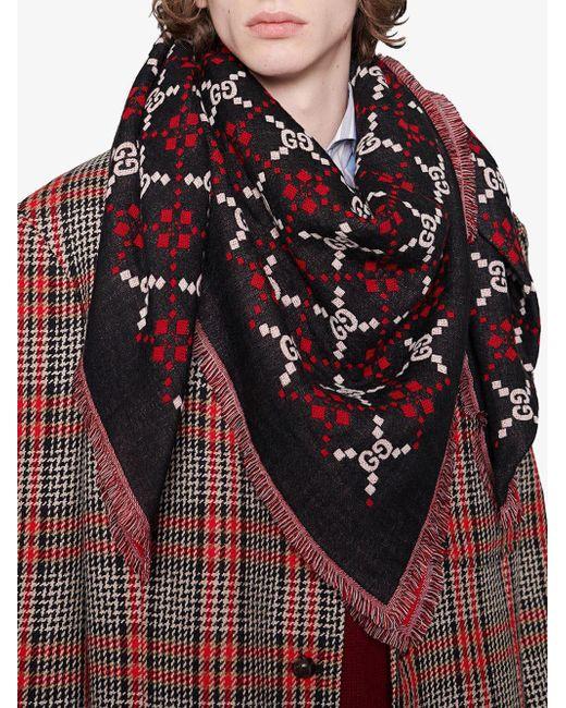 080783c5895 ... Gucci - Black GG Diamond Wool Shawl for Men - Lyst ...