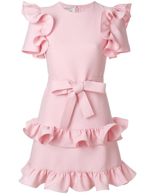 Valentino - Pink Tiered Ruffle Dress - Lyst