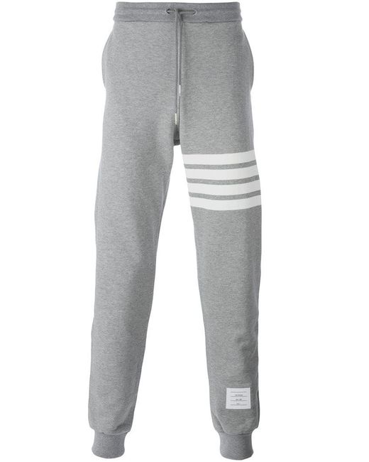 Thom Browne - Gray Striped Detail Sweatpants for Men - Lyst