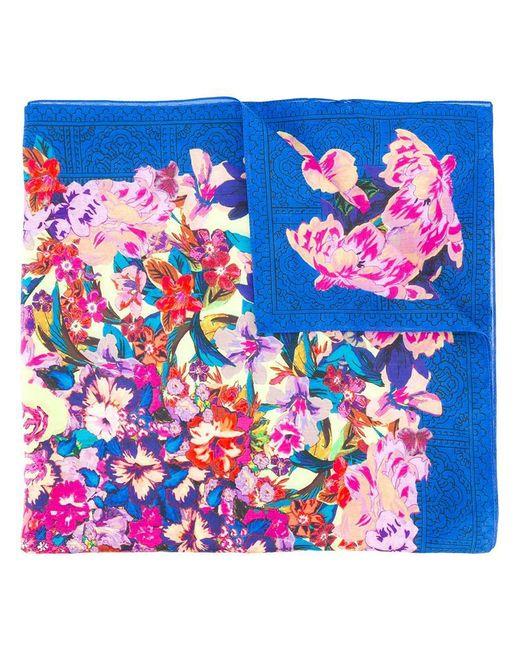 Etro - Blue Floral Print Scarf - Lyst