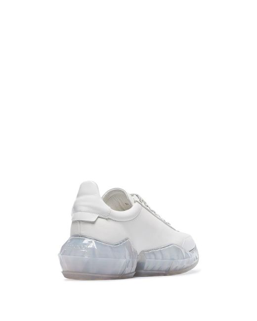 6aecb402b4a9 Lyst - Jimmy Choo White Diamond Leather Low-top Sneakers in White