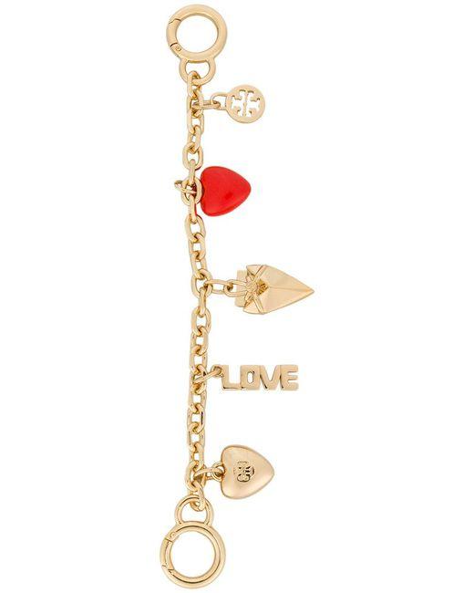 Tory Burch - Metallic Heart Chain Key Fob - Lyst