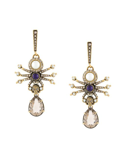 Alexander McQueen - Metallic Spider Earrings - Lyst