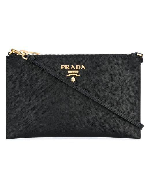 Prada - Black - Logo Plaque Clutch Bag - Women - Leather - One Size - Lyst