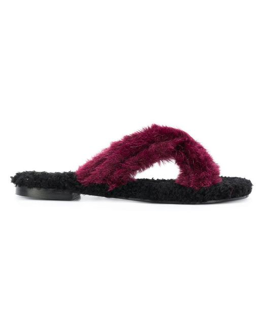 Avec Moderation - Red Faux Fur Crossover Sliders - Lyst